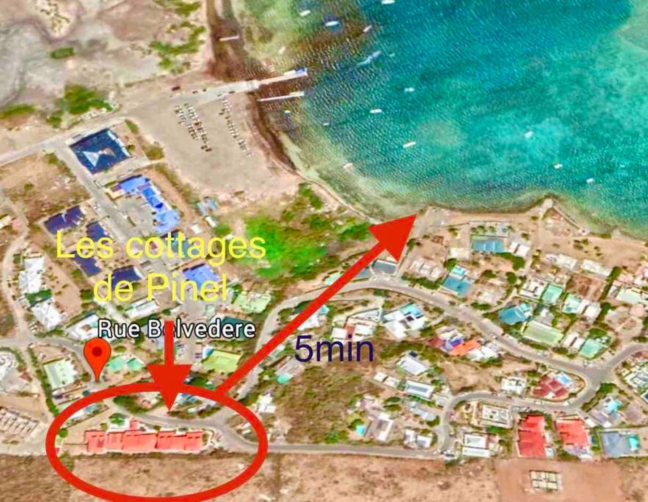 Belle suite S6 à 300m de la mer avec piscine à Cul de sac, Wifi haut débit