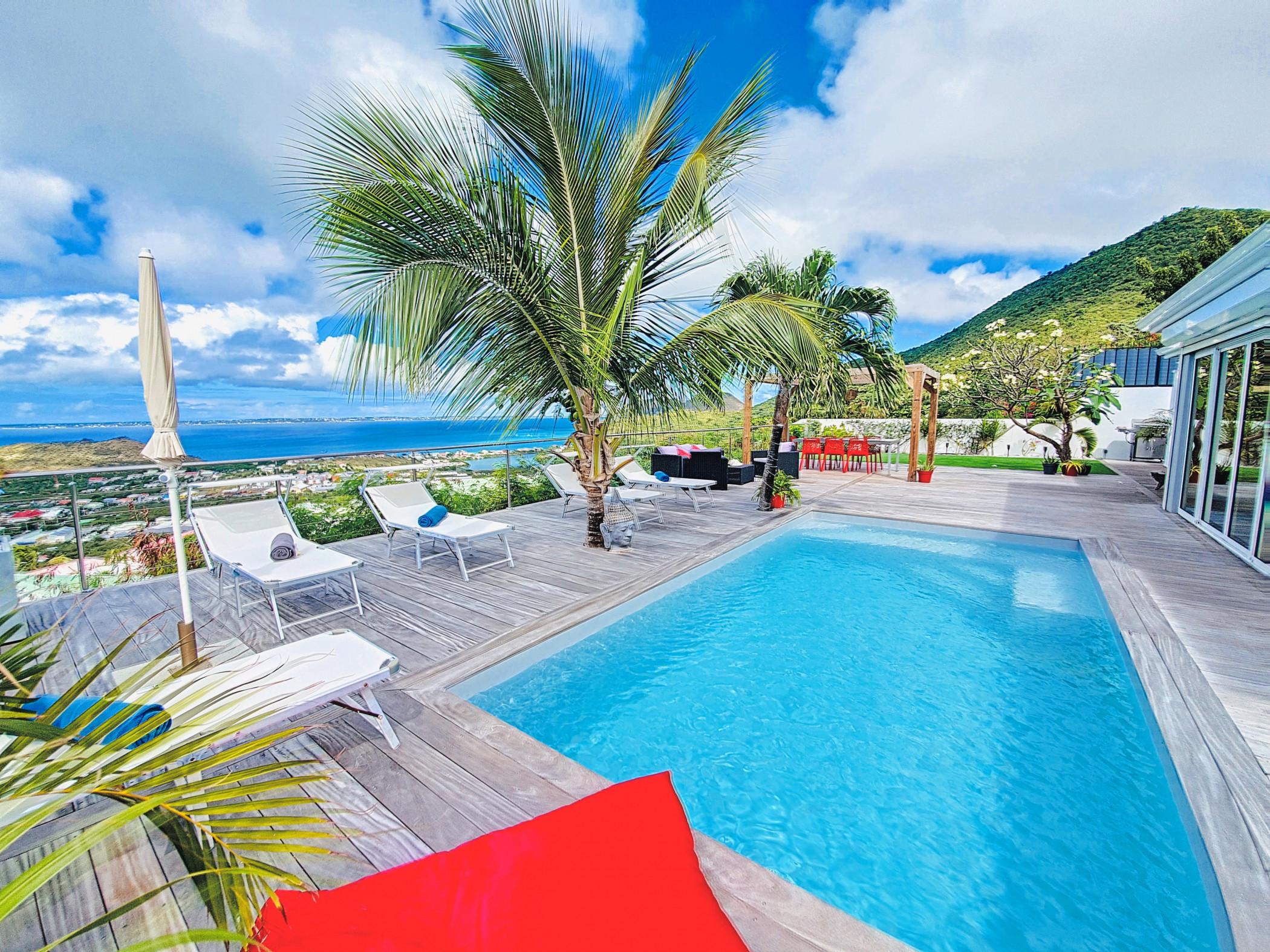 Villa SEA VIEW,  à 5 min de la plage de Grand Case, piscine privée